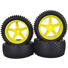 RC 1/10 Off-Road Car Buggy Front&Rear Rubber Tyre Tires Yellow Wheel 66008-66028