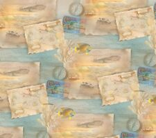 Cuarto gordo Tropical Sueños Mapas Postales Brújula Algodón Colchas de retazos de tela-Spx
