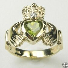 CLADDAGH RING,  with GENUINE PERIDOT & DIAMOND, IN 14K GOLD