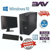 FAST Dell PRECISION T1650 Computer TOWER PC BUNDLE INTEL i7 1TB HDD 16GB WIN10