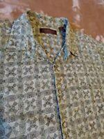 Tori Richard mens XXL Geometric GREEN Windmill Button Shirt Cotton Lawn 2xl EUC