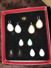 Vintage KJL Signed Pierced Magnetic Earrings W/5 Interchanging Colored Stones