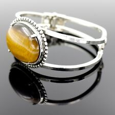 Golden Tigers Eye Stone in Stainless Steel Bracelet With A Hinged Wrist Opening