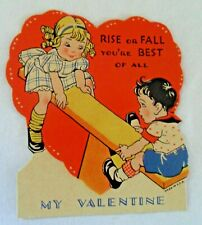 Vintage Valentine Card Rise or Fall Your Best Of All Made in Usa Teeter Totter