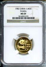 CHINA  PANDA 1982  NGC MS 69    GOLD 1/4 OZ