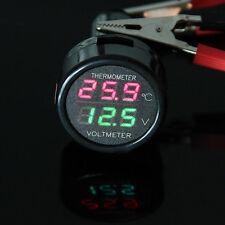 12V/24V LED Car Cigarette Lighter Digital Voltmeter Thermometer Digital Panel