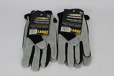 (2) Pairs Large Leather Palm Gloves Midwest Quality Gloves Men's Hi-Performance