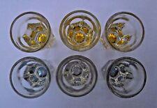 New listing 6 Vintage Brilliant Cut Crystal Tinted Shot Glasses. Fluted, Starburst Bottoms.