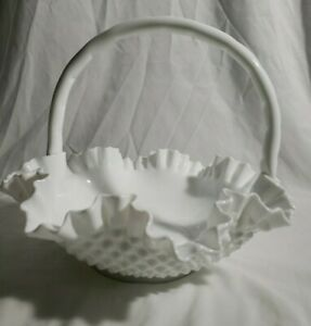 Vintage Fenton White Hobnail Milk Glass Large Handled Bowl