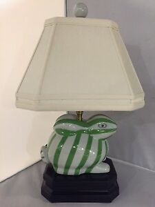 Green/White Bunny Rabbit Table Lamp Striped Desk Bed Side Light Includes Shade