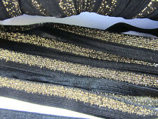 10 yards Metallic Elastic Band 15mm Lace Trim/Trimming/Sewing T193-Gold/Black