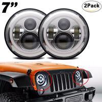 2x 7'' pouces LED Phare Halo Anneau DRL clignotant Lumière Pour Jeep Wrangler JK