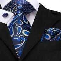 USA Blue Paisley Mens Tie Necktie Silk Jacquard Woven Set Wedding Party Luxury
