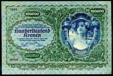 Austria. 100,000 Kronen, 1297 40249, 2-1-1922, Very Fine.
