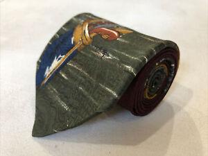 Tom James Men's Maroon Novelty Geometric Belts Silk Tie $125