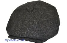 Herringbone Hat Eight Panel Baker Boy Paper Boy Dark Grey Hat Medium 56 cm