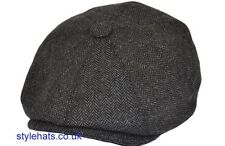 Herringbone 8 Panels Baker Boy Paper Boy Dark Grey Hat Large 59 cm