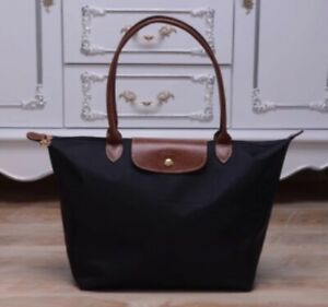 Brand New Longchamp New Le Pliage Nylon Tote Handbag Black Strap bag Size Large