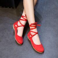 Womens Round Toe Lace up Boats Shoes Ballet Dance Flat Shoes Ankle Strap Pumps