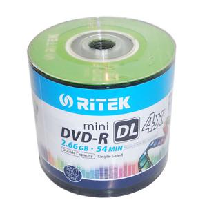 Mini DVD-R DL Blank DVD Dual Layer 4x 8cm 2.6 GB Recordable Ritek - 50 Pieces