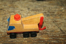 1971 Mattel Wooden Toy Vehicle Construction Tow Truck Wrecker Wind Up Works