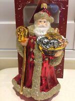 "Christmas X'mas Ornament HAND MADE IN POLAND Glass SANTA NOAH ARK 7""x3"" New Box"