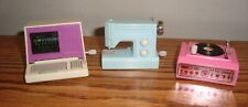 Vtg Barbie / Other Doll WIND UP Accessories COMPUTER; SEWING MACH; RECORD PLAYER
