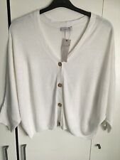 PER UNA MARKS & SPENCER WOMENS WHITE CARDIGAN With Linen, Size 18, Bnwt