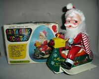 Santa Claus on Scooter Tin Litho & Plastic Battery Operated Toy Vintage WORKS