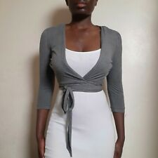 Rare Kate Moss for Topshop Grey 3/4 Sleeve Wrap Top / Ballet Cardigan - Size 8
