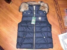 BNWT LADIES HOLLAND COOPER NAVY FAUX FUR HOODED HERITAGE GILET SIZE XS,RRP £199.