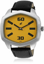 FASTRACK BLACK ANALOG YELLOW DIAL MEN'S WATCH 3119SL02