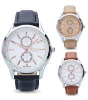 Geneva Women's Quartz Stainless Steel/Faux Leather Watch in Gift Box 10008