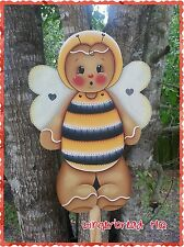 HP Wooden Yard Stake Gingerbread, Lawn Decoration, Yard Art , Summer, Ginger Bee