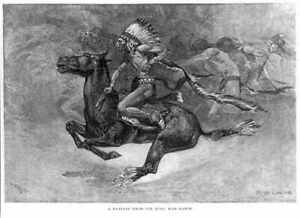 Illustration by Frederic Remington: A Fantasy from the Pony War Dance,Indi 4513