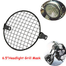 "6.5"" Headlight Mesh Grill Guard Black Motorcycle Headlamp Light Cover Cafe Racer"
