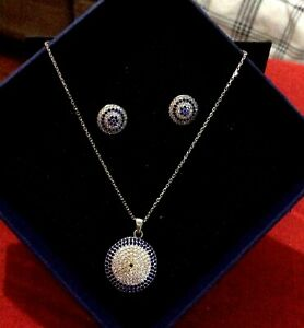 Blue Eye Sterling Silver Earrings and Necklace Set