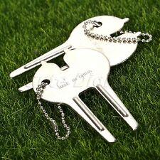 2X Golf Green Divot Repair Tool Pitch Fork Club Golfer Ball Marker Keychain Kit