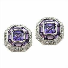 925 Silver Amethyst and Colorless CZ Modern Octagon Earrings