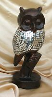 LARGE OWL STATUE BRONZE FINISH RESIN DECORATED WITH MIRROR MOSAIC TILES