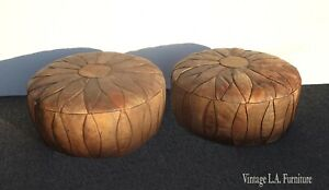 Pair Vintage French Country Rustic Leather Ottomans w Embossed Leather Figures