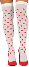 Ladies White Polka Dot Hen Do Carnival Fun Fancy Dress Stockings Hold Ups Socks