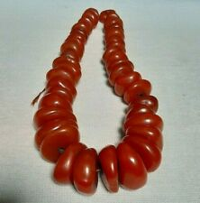 Beads - Large Beads 598 Gram Rare Antique African Moroccan simulated amber Trade