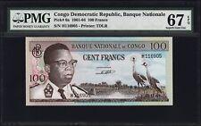 CONGO DEMOCRATIC REP.100 FRANCS, 1961, PMG 67 SUPERB GEM UNC, EPQ, P-6A