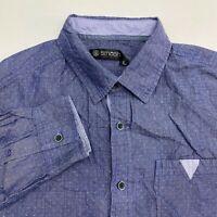 Smash Button Up Shirt Men's Large Long Sleeve Blue Polka Dot Casual 100% Cotton