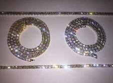 "One row tennis chain Iced Out Crystal Chain 30"" + Bracelet Hip Hop Bling diamond"