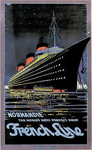 Vintage 1930s Normandie French Cruise Liner Travel Poster No.2 Art Re-Print A4