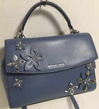 NEW Michael Kors SM Ava Top Handle Flowers Denim Blue Leather Satchel Handbag