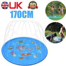 1x 170cm Inflatable Sprinkler Splash Pad Play Mat Water Toys Pool Kids Blue UK