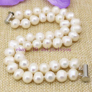 2 rows natural white 8-9mm pearl beads strand beaded bracelets bangle 7.5""